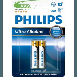 Батарейку, аккумулятор (AA/AAA/C/D) Philips AAA bat Alkaline 2шт Ultra Alkaline (LR03E2B/10)