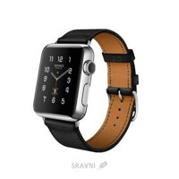 Фото Apple Watch Hermes 38mm Stainless Steel Case with Single Tour Noir Leather Band (MLCP2)
