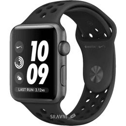 Умные часы, браслет спортивный Apple Watch Nike+ 42mm Space Gray Aluminum Case with Anthracite/Black Nike Sport Band (MQ182)