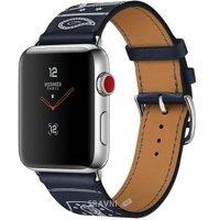 Смарт-часы, фитнес-браслет Apple Watch Series 3 Hermes (GPS) 42mm Stainless Steel Case with Marine Gala Leather Single Tour Eperon d'