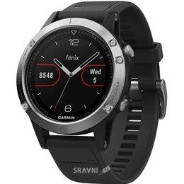 Умные часы, браслет спортивный Garmin Fenix 5 Black Sapphire with Black Band Silver (010-01688-03)